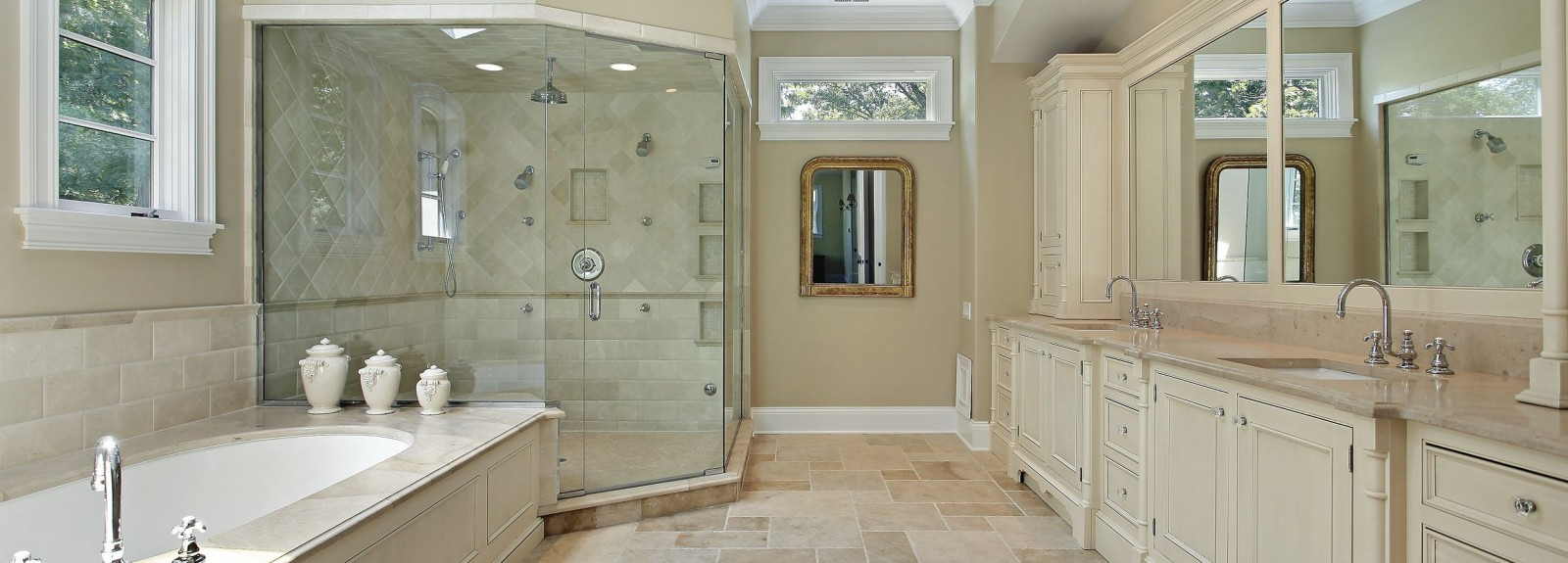 We can design and deliver this kind of spacious full gorgeous bathroom…